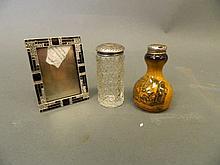 A Hallmarked silver topped porcelain salt shaker, a cut glass and Hallmarke