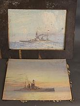 A pair of watercolours, Royal Navy battleships, monogrammed and dated F.T.
