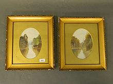 A pair of oils on millboard, river landscapes, monogrammed and dated AFA 19