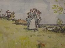 A.B. Simpson, signed watercolour, figures in a landscape, inscribed verso '
