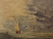 An oil on canvas, maritime scene with various shipping and figures in a sai