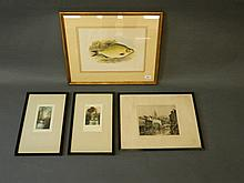 A C19th print, 'Common Bream', a pair of signed coloured etchings of river