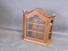 A Dutch style oak hanging display cabinet, 27'' x 7'' x 27''
