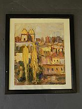 Heriberto Montoya-Ortiz, oil on board impasto sketch of a city landscape, 9