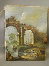An oil on canvas, Italianate scene with figures by a ruined viaduct, late C