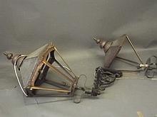 A pair of large copper lanterns with metal brackets, lantern 36'' high