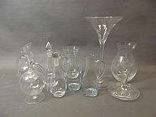 A quantity of contemporary glass decanters etc, largest 19½''