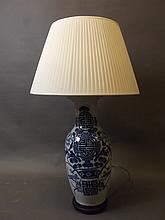A Chinese porcelain vase with blue and white decoration converted to a lamp, vase 22'' high