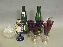 A quantity of coloured glassware etc, 12'' high