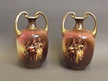A pair of Royal Beyreuth twin handled vases decorated with cavalier figures, 8½'' high