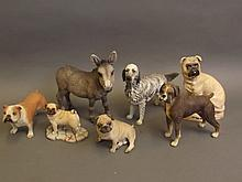 Six Bisque figures of dogs and a donkey (AF)
