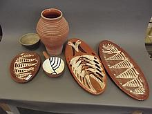 A quantity of pottery Slipware dishes, Studio Pottery etc, 11'' high