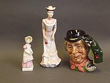 A Royal Doulton figure 'Emma' HN 2834, a Doulton character jug 'The Walrus and the Carpenter, copyright 1964', and a Coalport figure 'The Promenade', largest 10½'' high