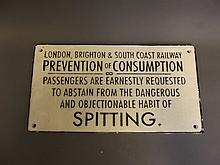 A replica cast iron 'London, Brighton & South Coast Railway - No Spitting' sign, 12'' x 6¼''
