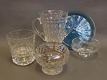 A quantity of glass to include a Rose bowl, two handled vase, large glass vase, and two other dishes