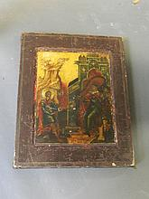 A C19th icon, 'Life of St. George', with certificate, 13'' x 10½''