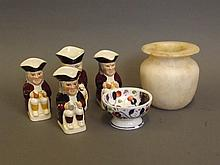 An alabaster squat vase, a small gaudy dish, and four Toby jugs made by Wood Burslem, 3½'' high