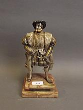A good quality Franklin Mint cold painted bronze figure of Henry VIII, 10'' high