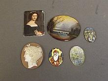 A small quantity of miniatures and enamels depicting classical figures and scenes, 1¾'' wide