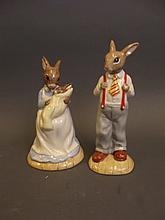 A Royal Doulton Limited Edition Bunnykins figure 'Mother and Baby Bunnykins' 159/2000, and another 'Father Bunnykins' 159/2000, both boxed, 6½'' high