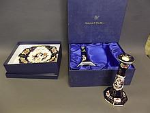 A pair of Mason's Limited Edition Mandalay pattern candlesticks by Compton & Woodhouse, original box, and a matching dish, candlesticks 8½'' high