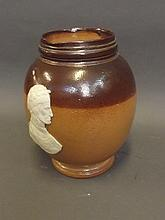 A Doulton Lambeth pottery jug with applied pottery bust of Dante to side, 8½'' high