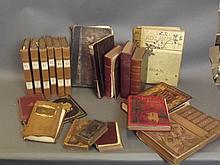 A quantity of early books to include 'Master Humphrey's Clock Vol 1' by Charles Dickens, a leather bound collection of poetry and other poetry books, 6 volumes of the works of 'Lord Byron Waverley' by Sir Walter Scott, titles by Edward Lear, bibles,