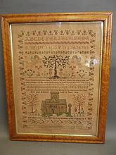 A good C19th maple framed sampler depicting Adam & Eve with the Tree of Life, winged cherubs, church etc, by Betsy Anne Hutchinson, aged 11 years 1841, 24½'' x 19¼''