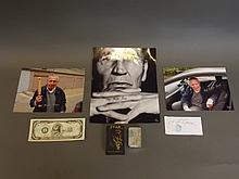A collection of Mad Frankie Fraser memorabilia to include signed and numbered photos, a signed Star lighter, and a $1m note bearing a thumbprint etc