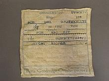 A C19th sampler by Rosa Goodredge decorated with biblical text, 8½'' square