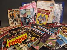 A large quantity of football programmes, football papers, tickets etc, predominantly Aston Villa, some signed, 17'' x 12''
