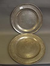 A large pair of C18th pewter chargers, marked 'London WP, SP 1798', 18'' diameter