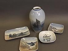 A Royal Copenhagen pottery vase painted with a sailing ship, and four Royal Copenhagen shallow dishes, vase 7'' high