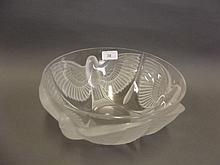 An Art Glass bowl with etched relief decoration of