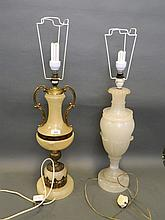 A large alabaster brass mounted table lamp, and a