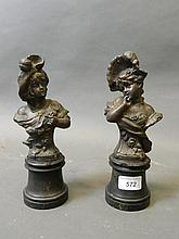 A pair of 19th Century bronze spelter busts of