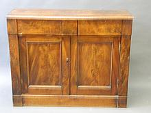 An early Victorian figured mahogany chiffoniere with two drawers over cupboards, 42'' x 13½'', 34'' high