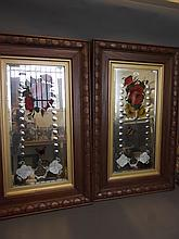 A pair of oak framed painted and bevelled mirrors decorated with flowers and butterflies, 32½'' x 20''