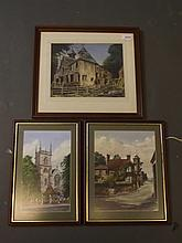 Jack Bentley, three watercolours, 'Abinger Hammer', 'St. Mary the Virgin, Ewell', and a derelict building, 10¼'' x 8''