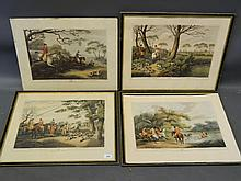 Four early C20th photo litho prints, hunting scenes, 12'' x 17'' (frames AF)