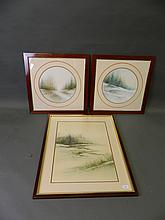 A pair of framed prints, winter scenes, and another similar, largest 17½'' x 23½''
