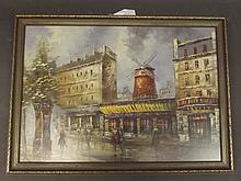 An oil on canvas, laid on board, Parisian street scene with the Moulin Rouge, unsigned, 21'' x 30''