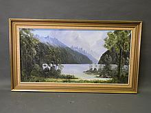 Don Parlane, oil on canvas board, 'Lake Mana Pouri, Fiordland, New Zealand', signed and dated 1979, 24'' x 48''