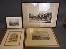 J. Paterson, watercolour, coastal scene, signed, and a quantity of prints including pencil signed etching by Wilfred E. Appleby
