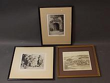 Ella D. Vinall, signed etching 1995, 'Fingest', Willie Lawson, etching, 'An Old Doorway', and a C19th etching of travellers by W. Strang, dated 83, largest 10'' x 7¾''