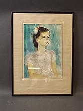 A watercolour, portrait of a young girl with a ribbon in her hair, monogram MCL dated 1954, 9½'' x 13½''