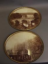 A good pair of C19th oval sepia photos of Chatsworth & Haddon Hall, labels verso, 12'' x 10''