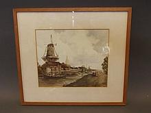 Albert E. Adams, C19th watercolour, Dutch canal scene with windmills, barges and figures, signed, 10'' x 8½''