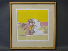 Brian Organ, signed lithograph, abstract landscape, 20'' square, Best Bid