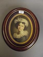 A good C19th Continental oil on board, portrait of a girl, image 8'' x 6''
